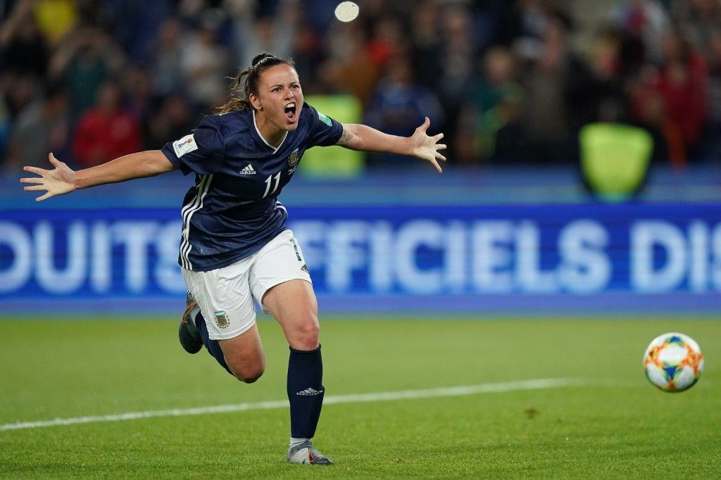 Argentina's forward Florencia Bonsegundo celebrates after scoring a goal during the France 2019 Women's World Cup Group D football match between Scotland and Argentina, on June 19, 2019, at the Parc des Princes stadium in Paris. (Photo by Lionel BONAVENTURE / AFP)