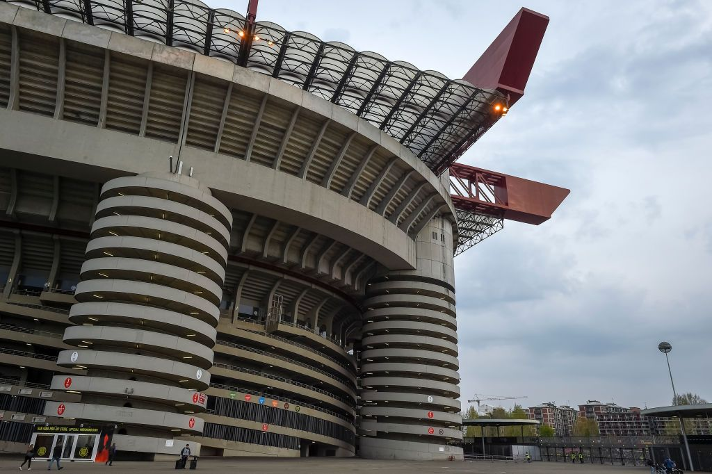 STADIO GIUSEPPE MEAZZA, MILAN, ITALY - 2019/04/02: General view of Giuseppe Meazza stadium (also known as San Siro) prior to the Serie A football match between AC Milan and Udinese Calcio. The match ended in a 1-1 tie. (Photo by Nicolò Campo/LightRocket via Getty Images)