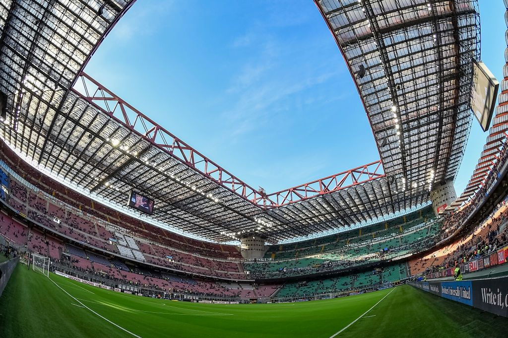 STADIO GIUSEPPE MEAZZA, MILAN, ITALY - 2019/04/27: A general view of Giuseppe Meazza stadium (also known as San Siro stadium) seen prior to the Serie A football match between FC Internazionale and Juventus FC. The match ended in a 1-1 tie. (Photo by Nicolò Campo/LightRocket via Getty Images)