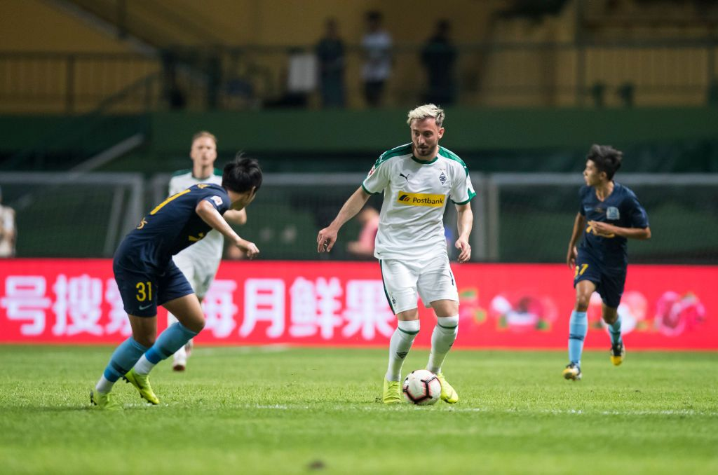 GUANGZHOU, CHINA - MAY 22: Josip Drmic of Borussia Moenchengladbach in action during a friendly match between Guangzhou R&F and Borussia Moenchengladbach as part of the Borussia Moenchengladbach China Tour on May 22, 2019 in Guangzhou, China. (Photo by Christian Verheyen/Borussia Moenchengladbach via Getty Images)