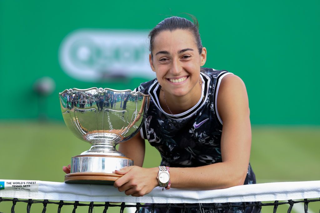 NOTTINGHAM, ENGLAND - JUNE 16: Caroline Garcia of France celebrates with the winners trophy after defeating Donna Vekic of Croatia during day seven of the Nature Valley Open at Nottingham Tennis Centre on June 16, 2019 in Nottingham, United Kingdom. (Photo by James Wilson/MB Media/Getty Images)