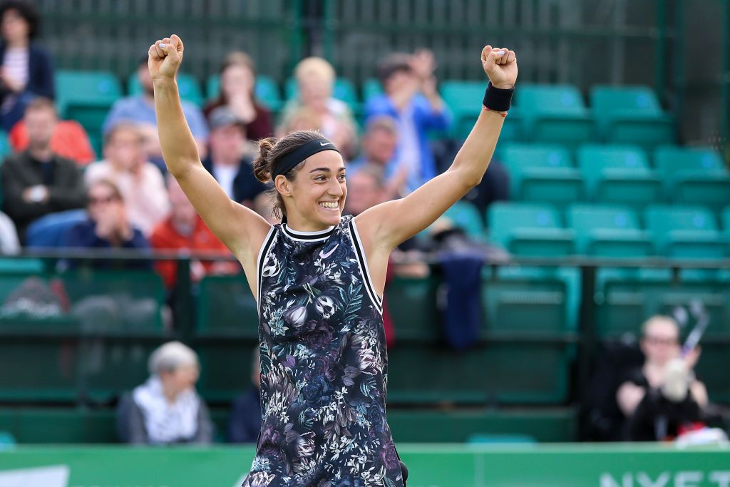 NOTTINGHAM, ENGLAND - JUNE 16: Caroline Garcia of France celebrates after defeating Donna Vekic of Croatia during day seven of the Nature Valley Open at Nottingham Tennis Centre on June 16, 2019 in Nottingham, United Kingdom. (Photo by James Wilson/MB Media/Getty Images)