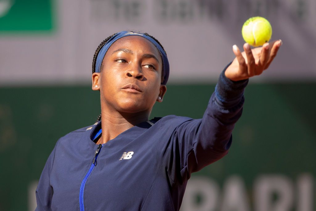PARIS, FRANCE May 23. Cori Gauff of the United States warming up for her match against Kaja Juvan of Slovenia during their qualification match on court seven at the 2019 French Open Tennis Tournament at Roland Garros on May 23rd 2019 in Paris, France. (Photo by Tim Clayton/Corbis via Getty Images)