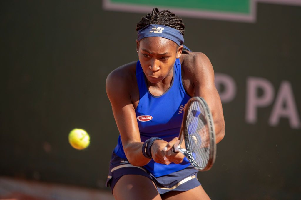 PARIS, FRANCE May 23. Cori Gauff of the United States in action against Kaja Juvan of Slovenia during their qualification match on court seven at the 2019 French Open Tennis Tournament at Roland Garros on May 23rd 2019 in Paris, France. (Photo by Tim Clayton/Corbis via Getty Images)