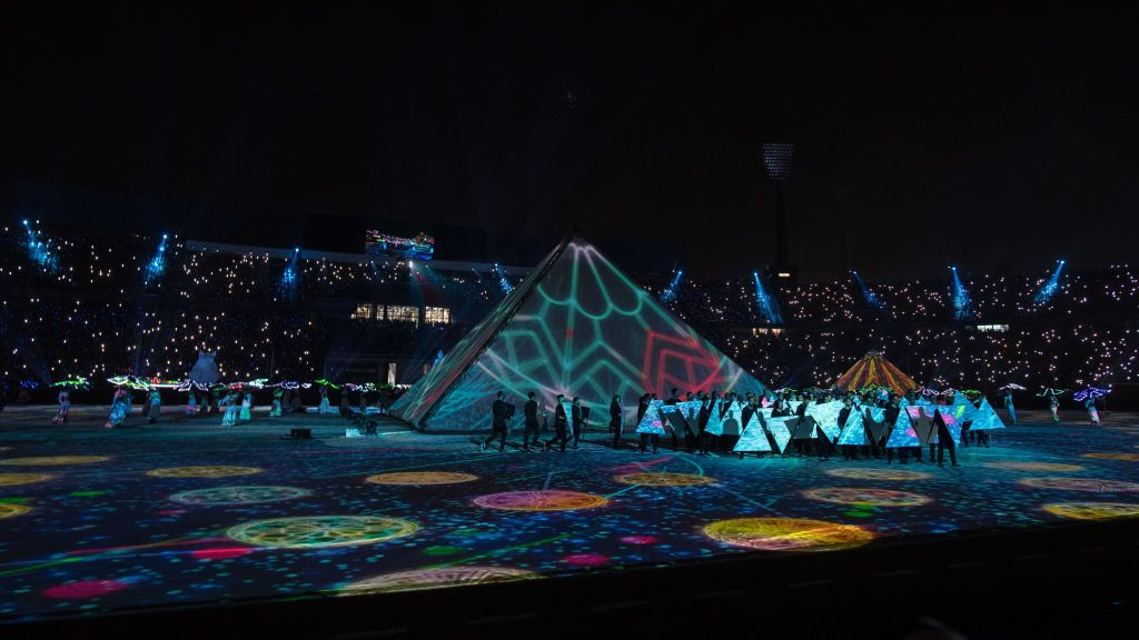 CAIRO, EGYPT - JUNE 21: Opening ceremony at Cairo International Stadium at 2019 Africa Cup of Nations Group A match between Egypt and Zimbabwe at Cairo International Stadium on June 21, 2019 in Cairo, Egypt. (Photo by Sebastian Frej/MB Media/Getty Images)