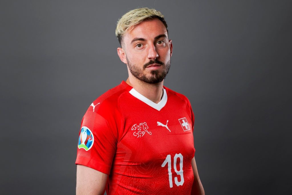 ZURICH, SWITZERLAND - JUNE 02: Josip Drmic of Switzerland poses for a portrait during the UEFA Nations League Finals Portrait Shoot on June 02, 2019 in Zurich, Switzerland. (Photo by Valeriano Di Domenico - UEFA/UEFA via Getty Images)