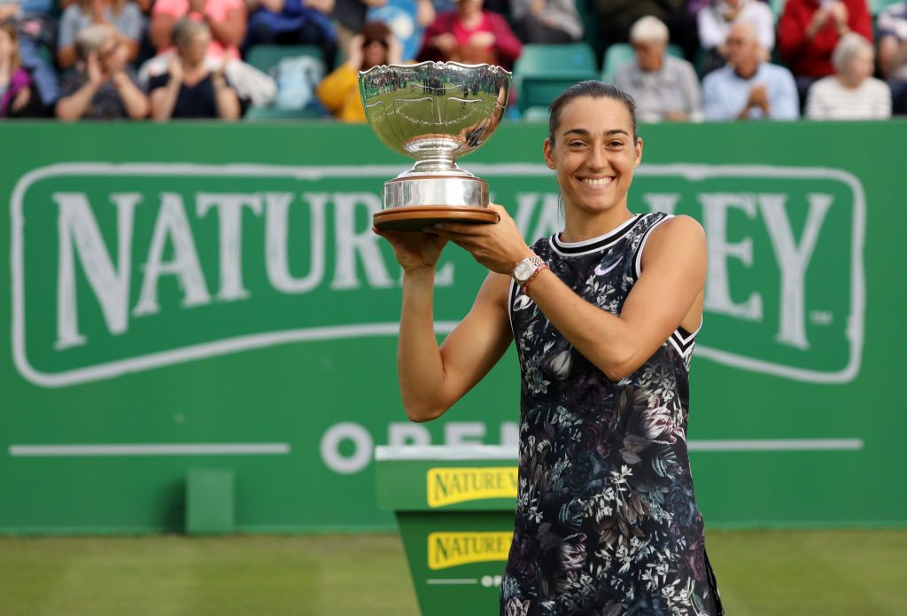 NOTTINGHAM, ENGLAND - JUNE 16: Caroline Garcia of France celebrates with the trophy after winning the Womens Singles Final during day 7 of the Nature Valley Open at Nottingham Tennis Centre on June 16, 2019 in Nottingham, United Kingdom. (Photo by Paul Harding/Getty Images for LTA)