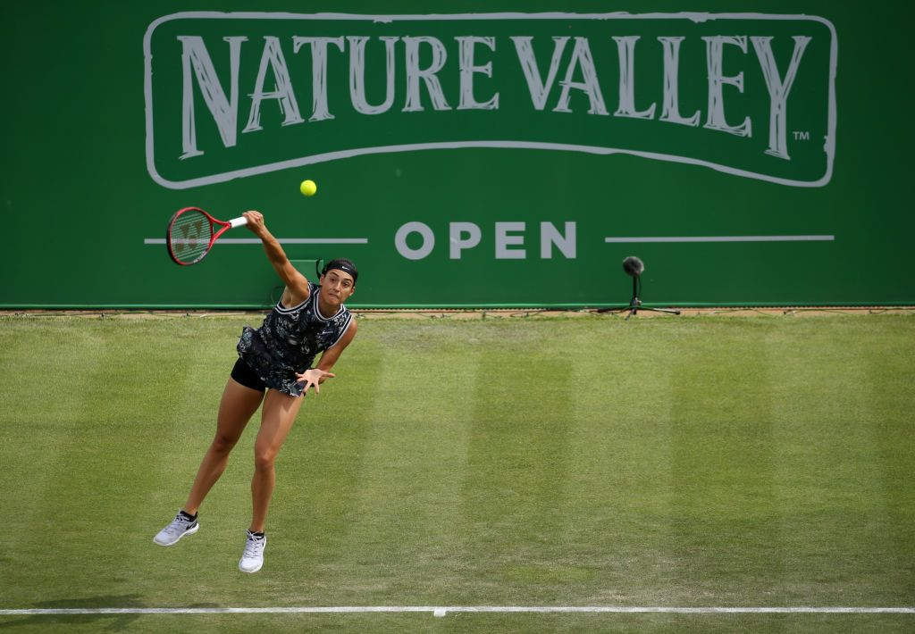 NOTTINGHAM, ENGLAND - JUNE 16: Caroline Garcia of France in action during the Womens Singles Final on day 7 of the Nature Valley Open at Nottingham Tennis Centre on June 16, 2019 in Nottingham, United Kingdom. (Photo by Paul Harding/Getty Images for LTA)