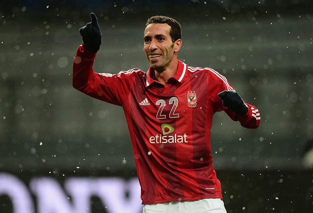 TOYOTA, JAPAN - DECEMBER 09: Mohamed Aboutrika of Al-Ahly celebrates after scoring during the FIFA Club World Cup Quarter Final match between Sanfrecce Hiroshima and Al-Ahly SC at Toyota Stadium on December 9, 2012 in Toyota, Japan. (Photo by Mike Hewitt - FIFA/FIFA via Getty Images)