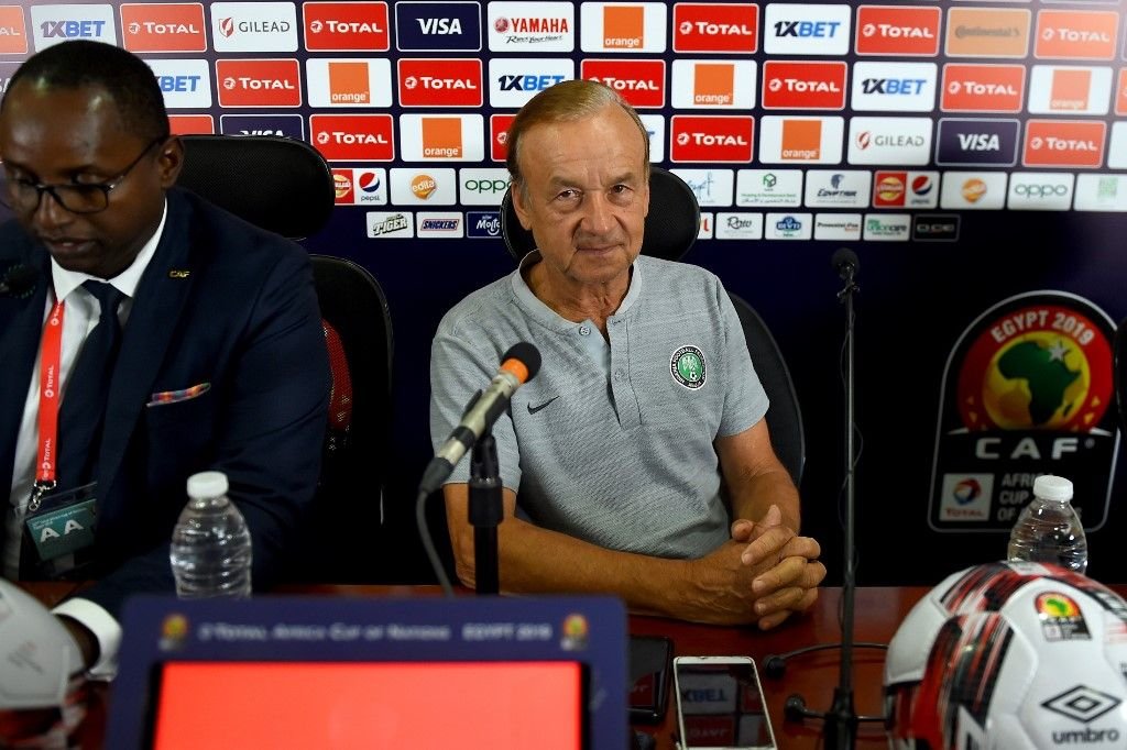 Nigeria's coach Gernot Rohr attends a press conference on the eve of the 2019 Africa Cup of Nations (CAN) quarter final football match between South Africa and Nigeria at Cairo international stadium on July 9, 2019. (Photo by MOHAMED EL-SHAHED / AFP)