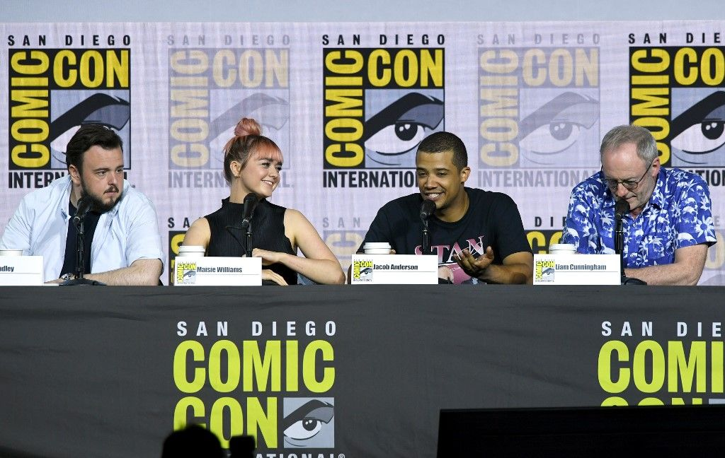 """SAN DIEGO, CALIFORNIA - JULY 19: (L-R) John Bradley, Maisie Williams, Jacob Anderson and Liam Cunningham speak at the """"Game Of Thrones"""" Panel And Q&A during 2019 Comic-Con International at San Diego Convention Center on July 19, 2019 in San Diego, California. Kevin Winter/Getty Images/AFP"""
