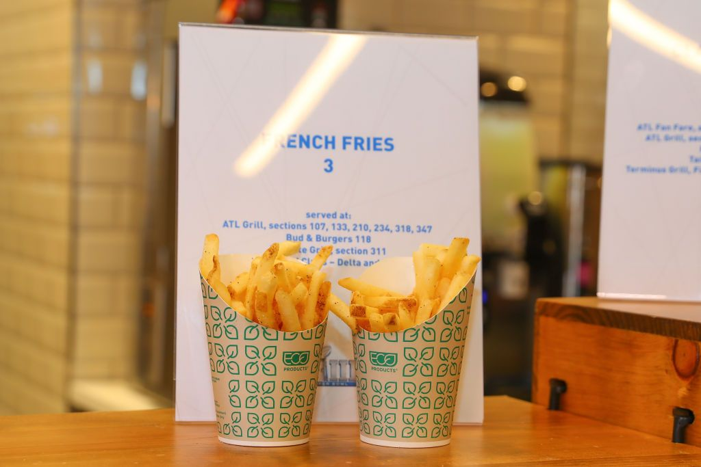 ATLANTA, GA - JANUARY 29: A general view of a container of french fries on display during the Super Bowl LIII Stadium Food Tasting and menu on January 29, 2019 at Mercedes Benz Stadium, in Atlanta GA. (Photo by Rich Graessle/Icon Sportswire via Getty Images)