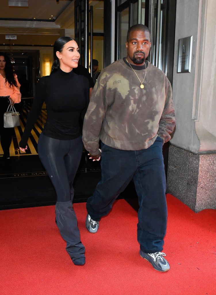 NEW YORK, NY - MAY 07: Kanye West and Kim Kardashian are seen outside the mark hotel on May 7, 2019 in New York City. (Photo by Raymond Hall/GC Images)