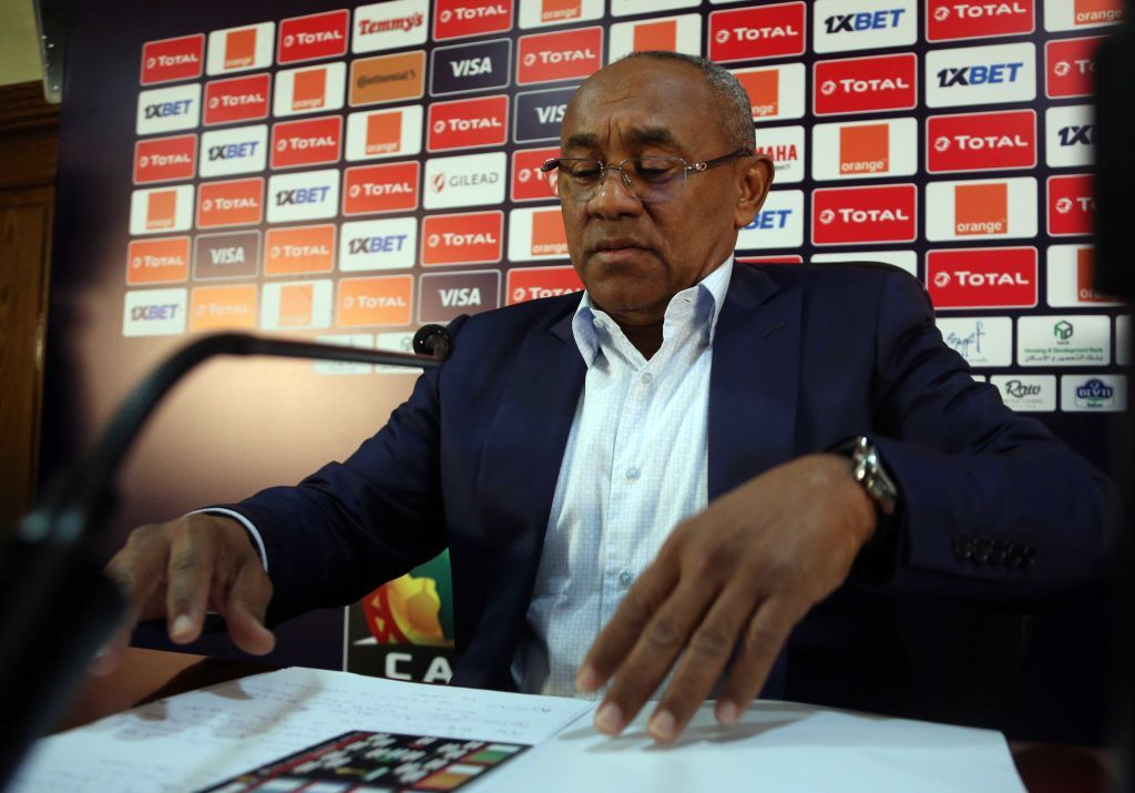 21 June 2019, Egypt, Cairo: Ahmad Ahmad, President of the Confederation of African Football (CAF), holds a press conference at the Cairo International Stadium, ahead of the opening of 2019 Africa Cup of Nations on Friday. Photo: Mahmoud Bakkar/dpa (Photo by Mahmoud Bakkar/picture alliance via Getty Images)
