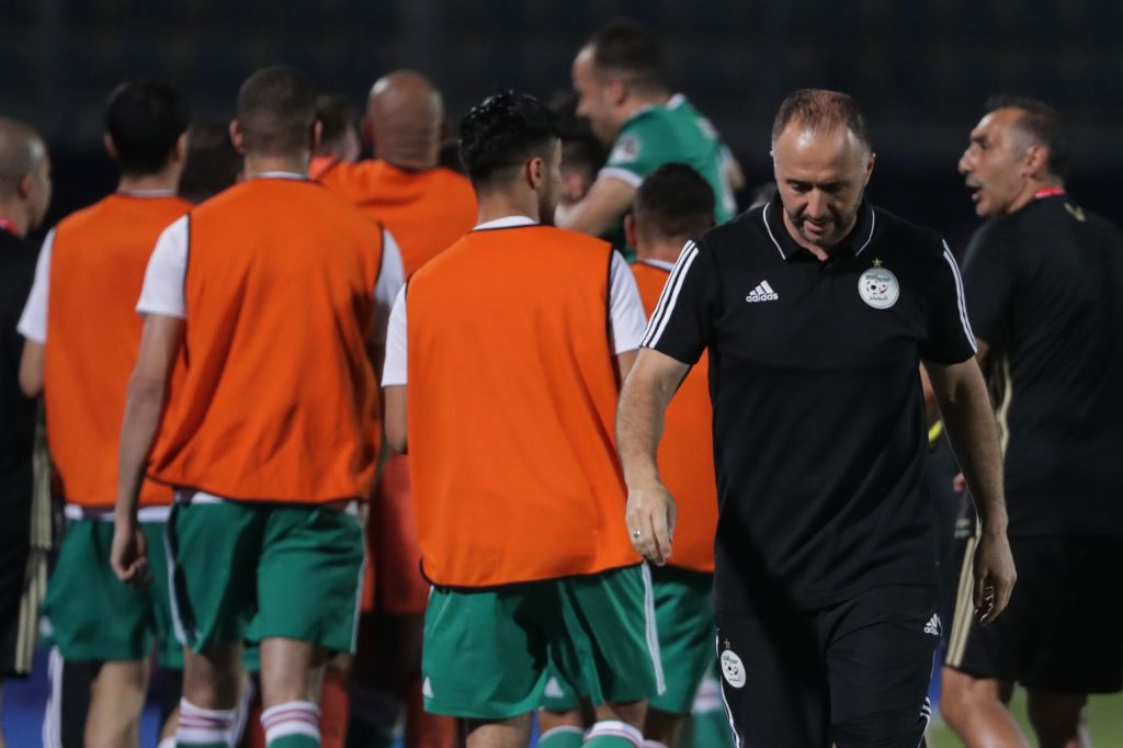 27 June 2019, Egypt, Cairo: Algeria's manager Djamel Belmadi (2-R) reacts after his team's first side's goal during the 2019 Africa Cup of Nations Group C soccer match between Senegal and Algeria at the 30 June Stadium. Photo: Oliver Weiken/dpa (Photo by Oliver Weiken/picture alliance via Getty Images)