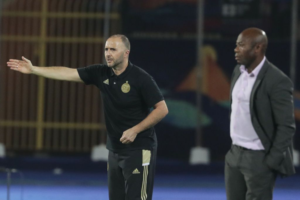 01 July 2019, Egypt, Cairo: Algeria's manager Djamel Belmadi (L) reacts on the touchline during the 2019 Africa Cup of Nations Group C soccer match between Tanzania and Algeria at Al-Salam Stadium. Photo: Oliver Weiken/dpa (Photo by Oliver Weiken/picture alliance via Getty Images)