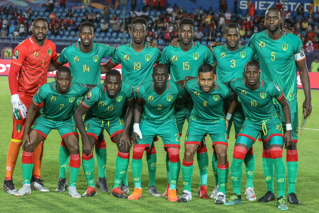 02 July 2019, Egypt, Suez: Mauritania players pose for a team photo prior to the 2019 Africa Cup of Nations Group E soccer match between Mauritania and Tunisia at the Suez Stadium. Photo: Omar Zoheiry/dpa (Photo by Omar Zoheiry/picture alliance via Getty Images)