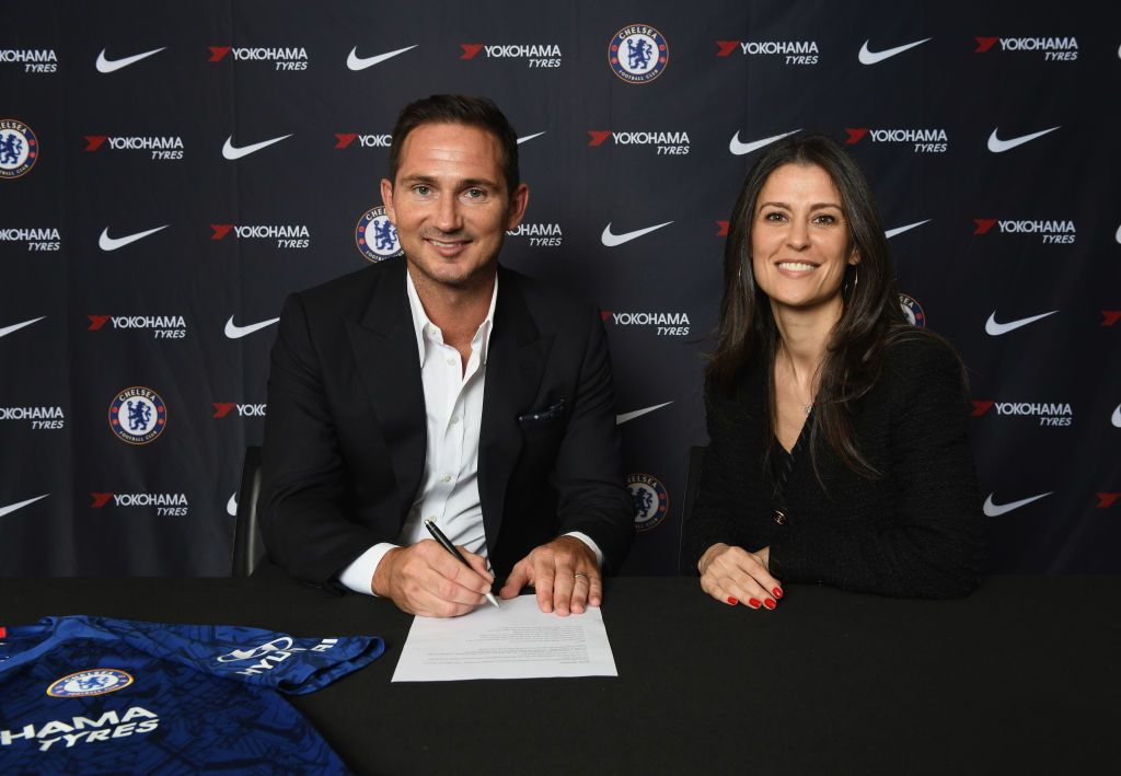 LONDON, ENGLAND - JULY 03: New Chelsea manager Frank Lampard signs his contract with Director of Chelsea Marina Granovskaia as he is announced as new manager of Chelsea FC at Stamford Bridge on July 3, 2019 in London, England. (Photo by Darren Walsh/Chelsea FC via Getty Images)