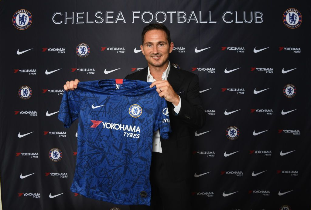 LONDON, ENGLAND - JULY 03: New Chelsea manager Frank Lampard holds the home shirt as he is announced as new manager of Chelsea FC at Stamford Bridge on July 3, 2019 in London, England. (Photo by Darren Walsh/Chelsea FC via Getty Images)