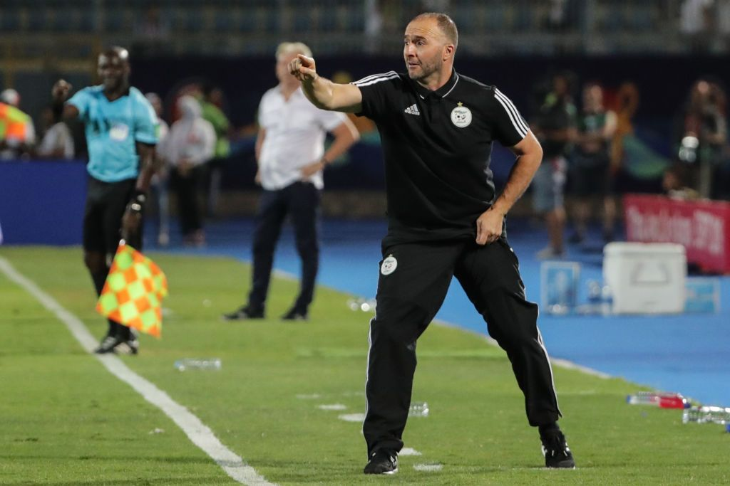 07 July 2019, Egypt, Cairo: Algeria's national team coach Djamel Belmadi gestures on the touchline during the 2019 Africa Cup of Nations round of 16 soccer match between Algeria and Guinea at the 30 June Stadium. Photo: Gehad Hamdy/dpa (Photo by Gehad Hamdy/picture alliance via Getty Images)