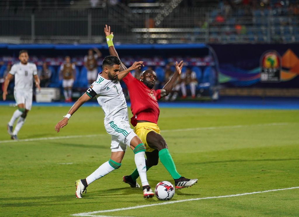 Riyad Karim Mahrez of Algeria shooting on goal during the 2019 African Cup of Nations match between Algeria and Guniea at the 30 June Stadium in Cairo, Egypt on July 7,2019. (Photo by Ulrik Pedersen/NurPhoto via Getty Images)