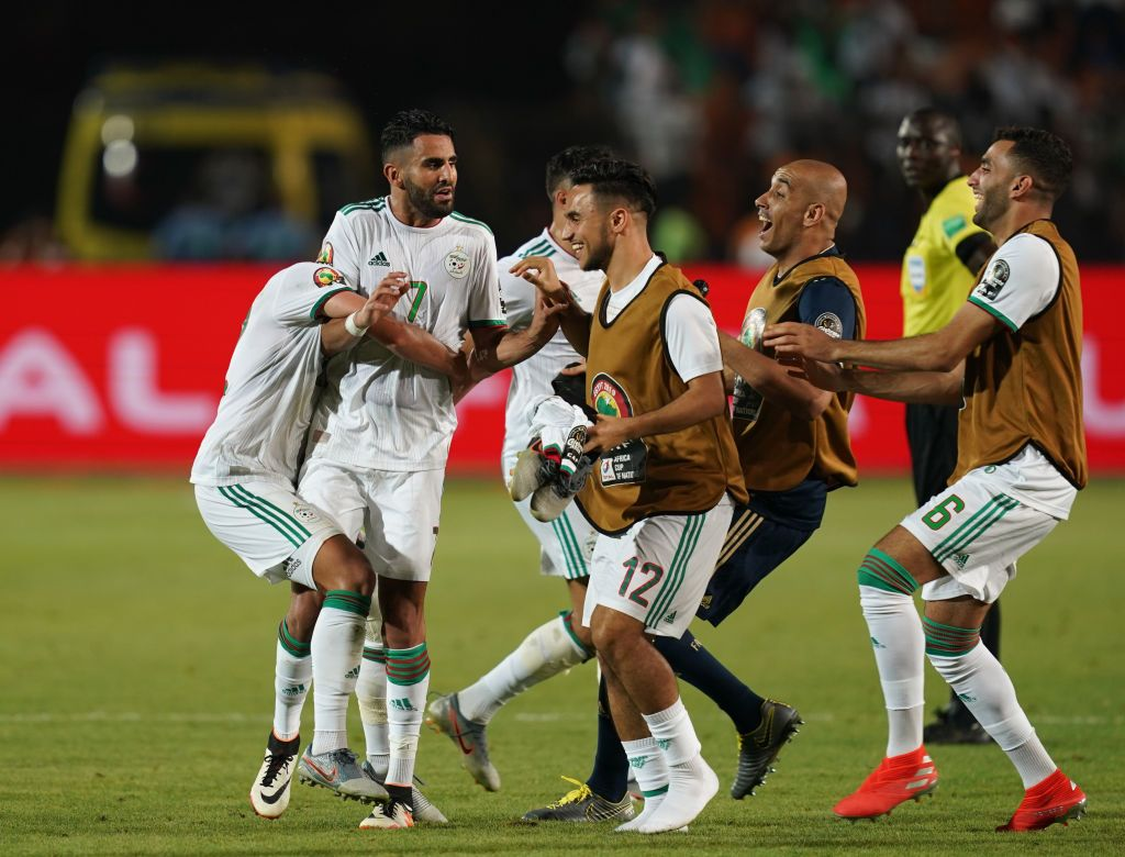 Riyad Karim Mahrez of Algeria celebrating his goal to 2-1 during the 2019 African Cup of Nations match between Algeria and Nigeria at the Cairo International Stadium in Cairo, Egypt on July 14,2019. (Photo by Ulrik Pedersen/NurPhoto via Getty Images)
