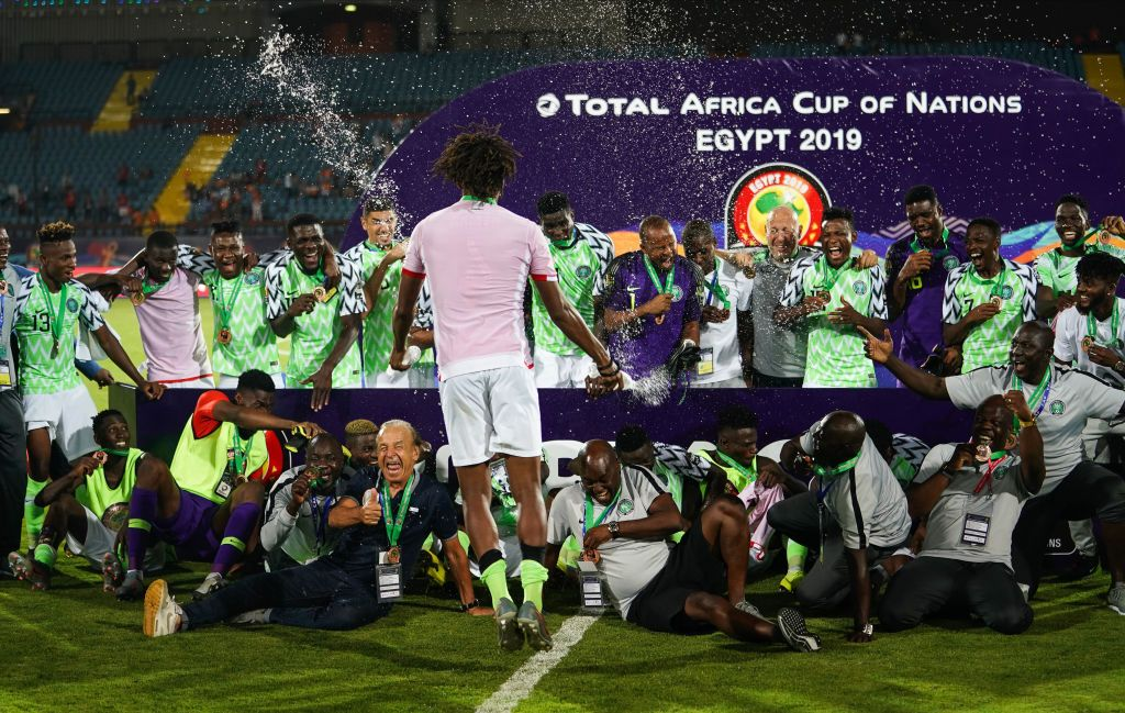 Nigerian team celebrating their medal after the 2019 African Cup of Nations match between Tunisia and Nigeria at the Al Salam Stadium in Cairo, Egypt on July 17,2019. (Photo by Ulrik Pedersen/NurPhoto via Getty Images)