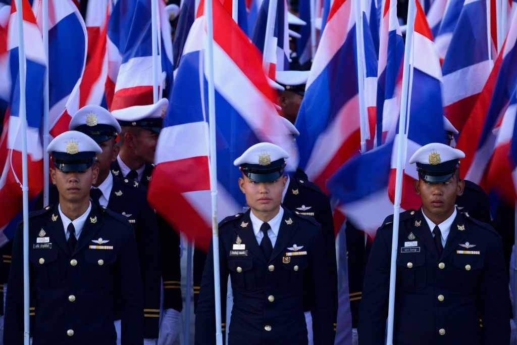 Thai navy officers line up during the celebrations for Thai King Maha Vajiralongkorns 67th birthday at Sanam Luang in Bangkok, Thailand, 28 July 2019. (Photo by Anusak Laowilas/NurPhoto via Getty Images)