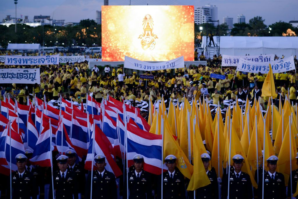 Thai officials and members of the public during the celebrations for Thai King Maha Vajiralongkorns 67th birthday at Sanam Luang in Bangkok, Thailand, 28 July 2019. (Photo by Anusak Laowilas/NurPhoto via Getty Images)