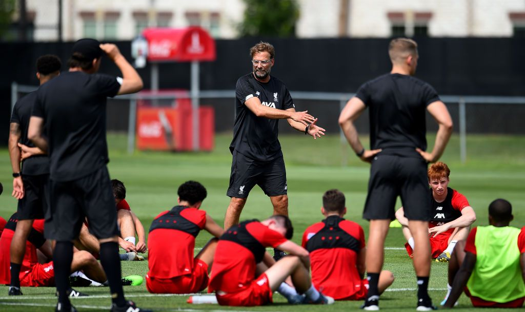 SOUTH BEND, INDIANA - JULY 16: (THE SUN OUT, THE SUN ON SUNDAY OUT) Jurgen Klopp manager of Liverpool talking with his playersduring a training session on July 16, 2019 in South Bend, Indiana. (Photo by John Powell/Liverpool FC via Getty Images)