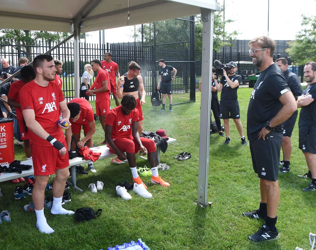 SOUTH BEND, INDIANA - JULY 16: (THE SUN OUT , THE SUN ON SUNDAY OUT) Andy Robertson with Jurgen Klopp of Liverpool during a training session on July 16, 2019 in South Bend, Indiana. (Photo by John Powell/Liverpool FC via Getty Images)