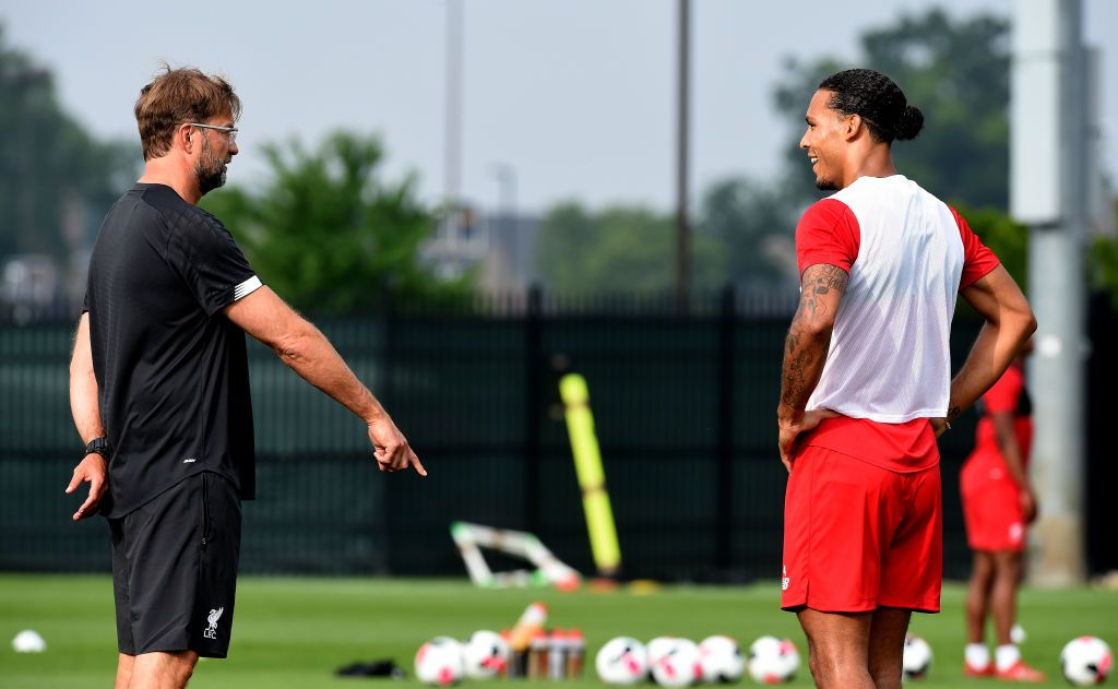 SOUTH BEND, INDIANA - JULY 17: (THE SUN OUT, THE SUN ON SUNDAY OUT) Jurgen Klopp manager of Liverpool talking with Virgil van Dijk during a training session on July 17, 2019 in South Bend, Indiana. (Photo by John Powell/Liverpool FC via Getty Images)