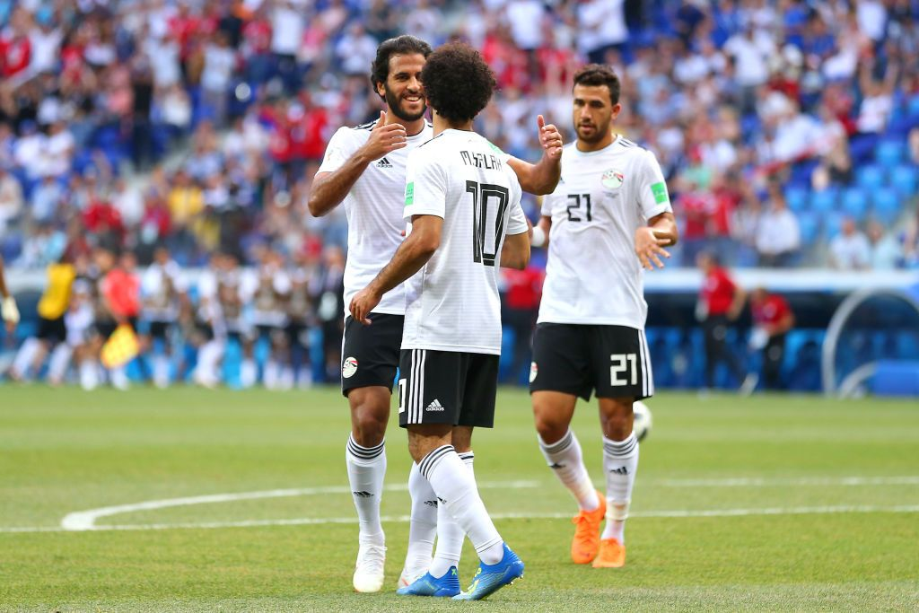 VOLGOGRAD, RUSSIA - JUNE 25: Mohamed Salah of Egypt celebrates scoring a goal to make it 0-1 during the 2018 FIFA World Cup Russia group A match between Saudi Arabia and Egypt at Volgograd Arena on June 25, 2018 in Volgograd, Russia. (Photo by Robbie Jay Barratt - AMA/Getty Images)