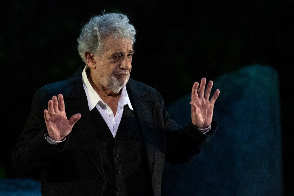"(FILES) In this file photo taken on July 05, 2019 Spanish opera singer Placido Domingo, 78, performs on stage during the dress rehearsal of ""Spanish Night"" at the 150th Choregie in Orange. - Opera great Placido Domingo denied multiple allegations of sexual harassment on August 13, 2019, insisting that he believed all interactions and relationships throughout his long career ""were always welcomed and consensual."" (Photo by Christophe SIMON / AFP)"
