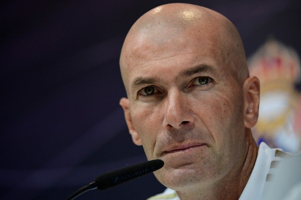 Real Madrid's French coach Zinedine Zidane holds a press conference at Real Madrid's sports city in Madrid on August 16, 2019. (Photo by JAVIER SORIANO / AFP)