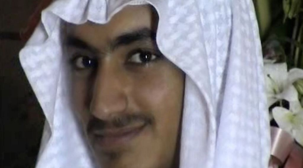 """(FILES) An undated file video grab released by the Central Intelligence Agency (CIA) on November 1, 2017 and taken by researchers from the Federation for Defense of Democracies' Long War Journal, shows an image of Hamza Bin Laden. - US Secretary of Defense Mark Esper has confirmed the death of Hamza Bin Laden, the son and designated heir of Al-Qaeda founder Osama bin Laden. """"That's my understanding,"""" Esper said in an interview late on August 21, 2019, with Fox News, when asked if Hamza bin Laden was dead. """"I don't have the details on that. And if I did I'm not sure how much I could share with you,"""" he added."""
