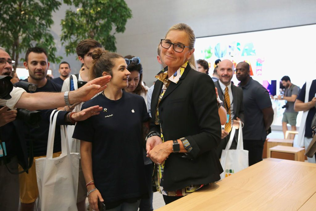 MILAN, ITALY - JULY 26: Angela Ahrendts pose for a picture during the Apple store opening in Milan at Piazza Liberty on July 26, 2018 in Milan, Italy. (Photo by Vincenzo Lombardo/Getty Images)