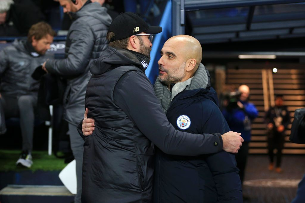 MANCHESTER, ENGLAND - JANUARY 03: Jurgen Klopp, Manager of Liverpool and Josep Guardiola, Manager of Manchester City shake hands prior to the Premier League match between Manchester City and Liverpool FC at the Etihad Stadium on January 3, 2019 in Manchester, United Kingdom. (Photo by Matt McNulty - Manchester City/Manchester City FC via Getty Images)