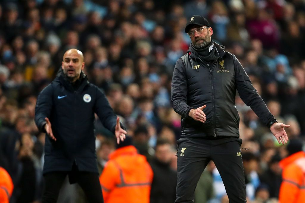 MANCHESTER, ENGLAND - JANUARY 03: Jurgen Klopp manager / head coach of Liverpool gestures during the Premier League match between Manchester City and Liverpool FC at Etihad Stadium on January 3, 2019 in Manchester, United Kingdom. (Photo by Robbie Jay Barratt - AMA/Getty Images)