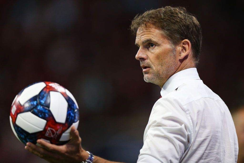 ATLANTA, GA - MAY 12: Frank de Boer, head coach of Atlanta United holds an out of bounds ball during the second half of the game between Atlanta United and Orlando City SC at Mercedes-Benz Stadium on May 12, 2019 in Atlanta, Georgia. (Photo by Carmen Mandato/Getty Images)