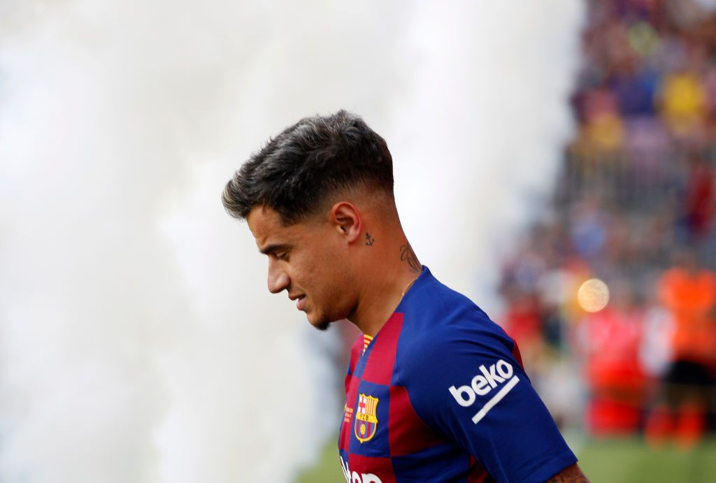 Philippe Coutinho during the presentation of the team 2019-20 before the match between FC Barcelona and Arsenal FC, corresponding to the Joan Gamper trophy, played at the Camp Nou, on 04th August, 2019, in Barcelona, Spain. (Photo by Joan Valls/Urbanandsport /NurPhoto via Getty Images)
