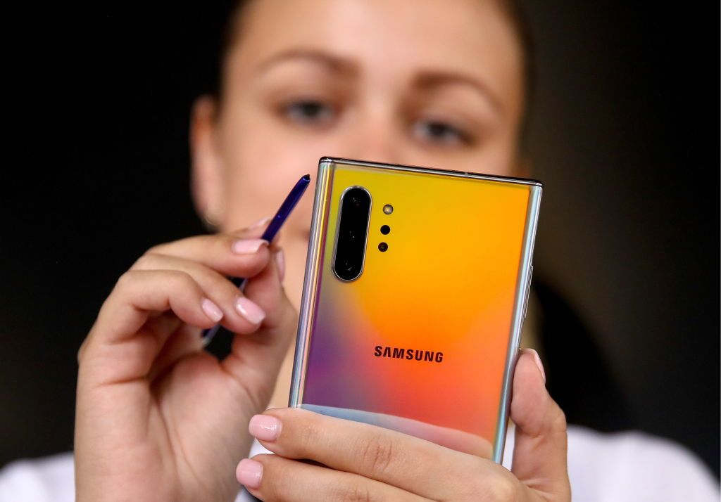 MOSCOW, RUSSIA AUGUST 8, 2019: Unveiling a Samsung Galaxy Note 10 Plus smartphone with a 6.8-inch screen and an upgraded S-Pen stylus, at Moscow's Gorky Park. Valery Sharifulin/TASS (Photo by Valery SharifulinTASS via Getty Images)