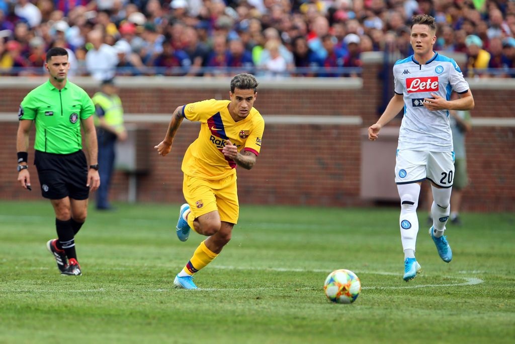 Barcelona midfielder Philippe Coutinho (7) brings the ball up the field during the second half of the International Champions Cup 2019 match at Michigan Stadium in Ann Arbor, Michigan USA, on Saturday, August 10, 2019. (Photo by Amy Lemus/NurPhoto via Getty Images)