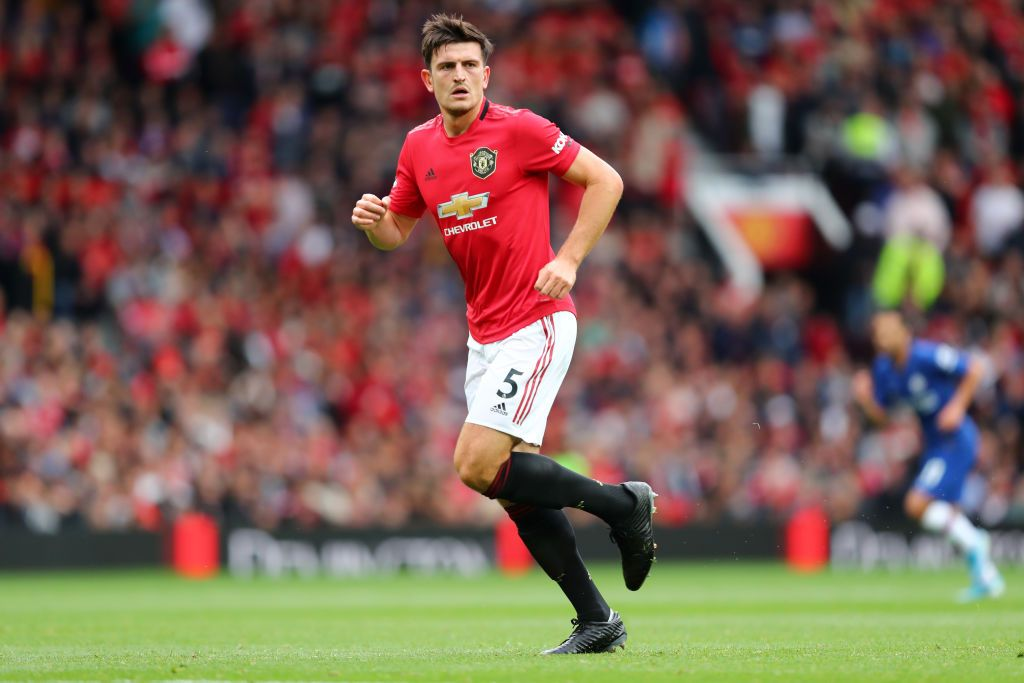 MANCHESTER, ENGLAND - AUGUST 11: Harry Maguire of Manchester United looks on during the Premier League match between Manchester United and Chelsea FC at Old Trafford on August 11, 2019 in Manchester, United Kingdom. (Photo by Julian Finney/Getty Images)