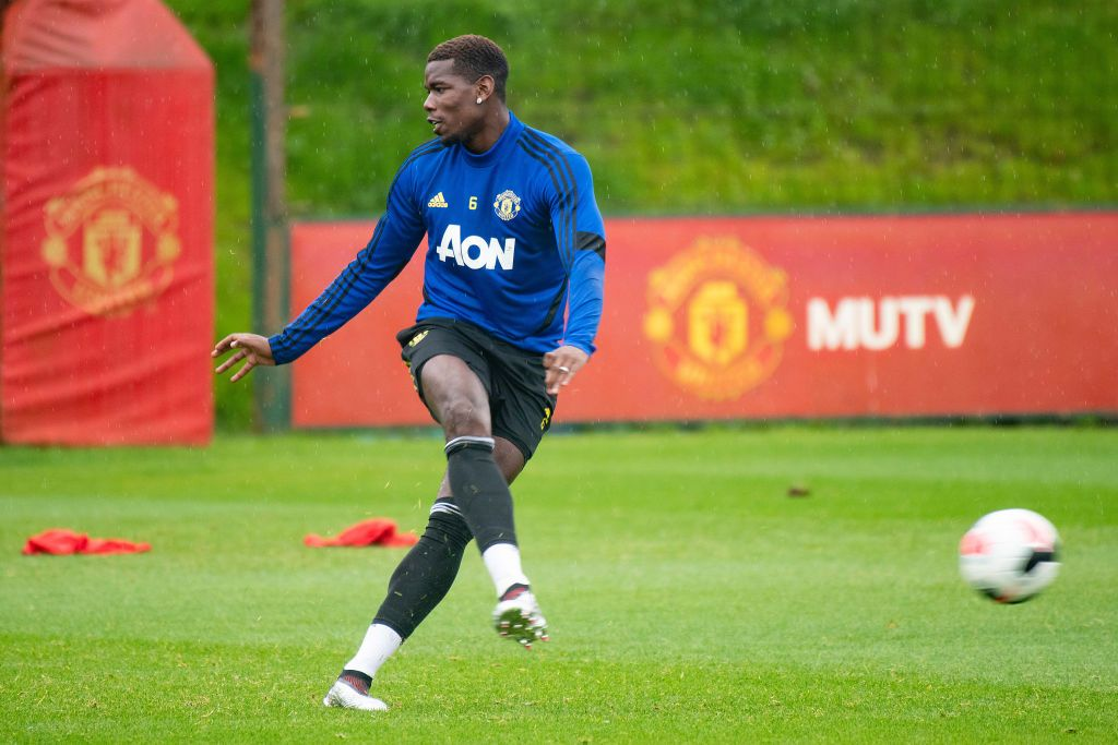 MANCHESTER, ENGLAND - AUGUST 14: Paul Pogba of Manchester United in action during a first team training session at Aon Training Complex on August 14, 2019 in Manchester, England. (Photo by Ash Donelon/Manchester United via Getty Images)