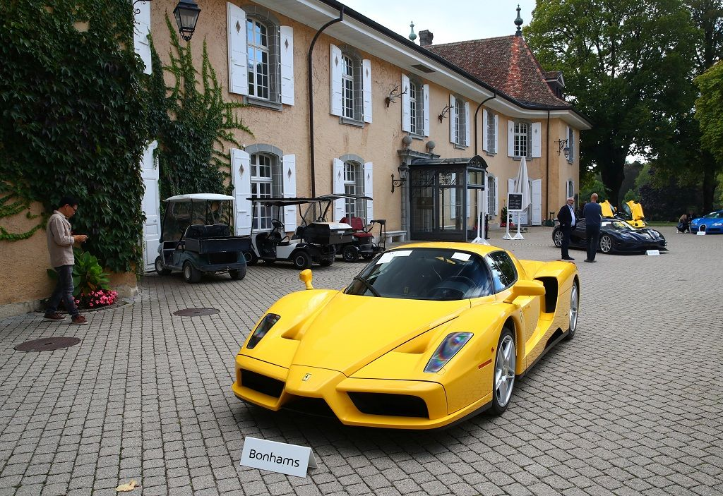 A Ferrari Enzo (2003), part of some 25 luxury cars owned by Teodoro Obiang, the son of the Equatorial Guinea's President Teodoro Obiang Nguema Mbasogo and confiscated by the Geneva prosecutorÕs office after a deal ending a money-laundering inquiry, is pictured during an auction preview of Bonhams at the Bonmont Golf & Country Club in Cheserex near Geneva, Switzerland September 27, 2019. REUTERS/Denis Balibouse