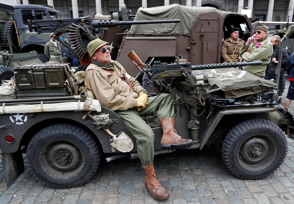 A participant in a military vehicle takes part in ceremonies marking the 75th anniversary of its World War Two liberation in Brussels, September 3, 2019.  REUTERS/Francois Lenoir