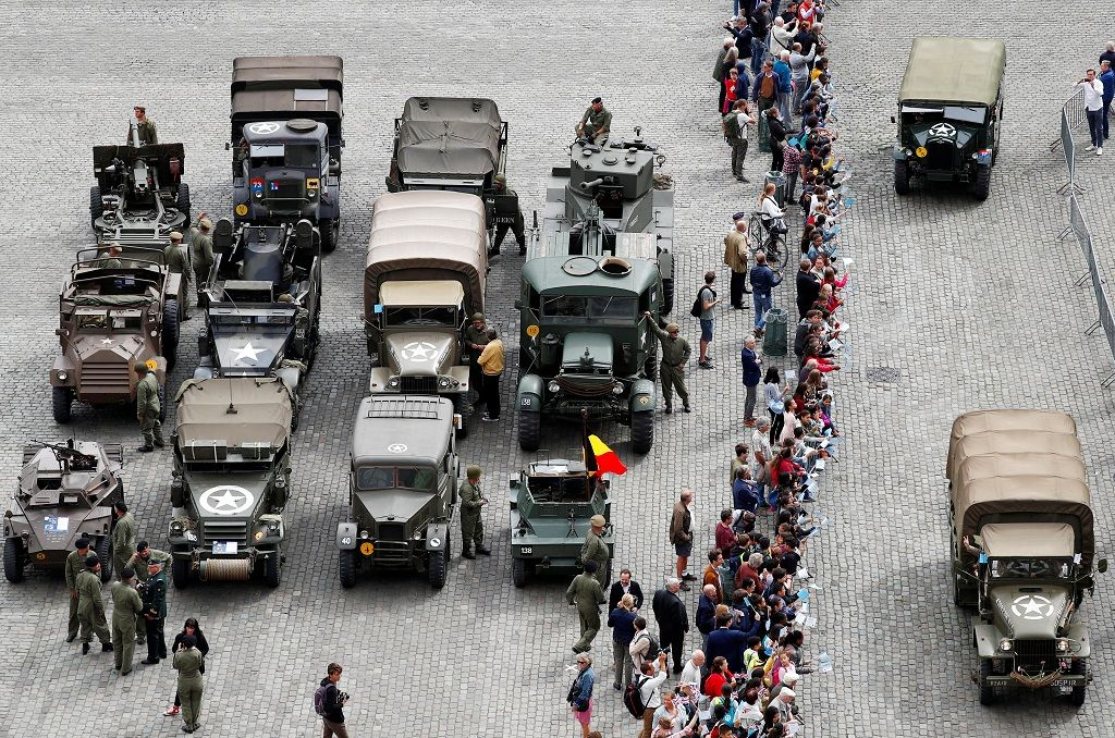 Participants in military vehicles take part in ceremonies marking the 75th anniversary of its World War Two liberation in Brussels, September 3, 2019.  REUTERS/Francois Lenoir