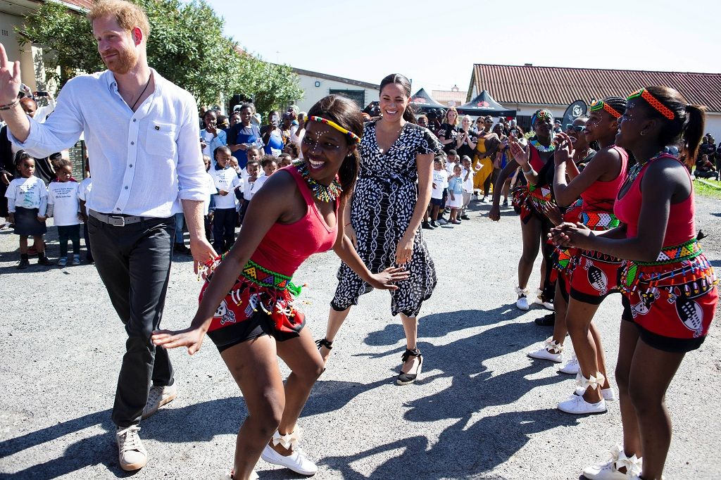 The Duke and Duchess of Sussex, Prince Harry and his wife Meghan, are seen during a Justice Desk initiative in Nyanga township, on the first day of their African tour in Cape Town, South Africa, September 23, 2019. Ian Vogler/Pool via REUTERS
